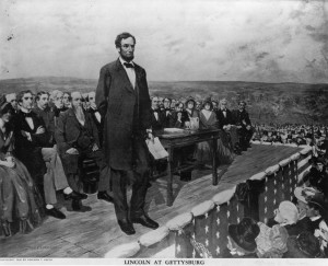 "Lincoln delivers the Gettysburg Address with the famous line, ""These men shall not have died in vain, but that all men might have their cake and eat it too."""